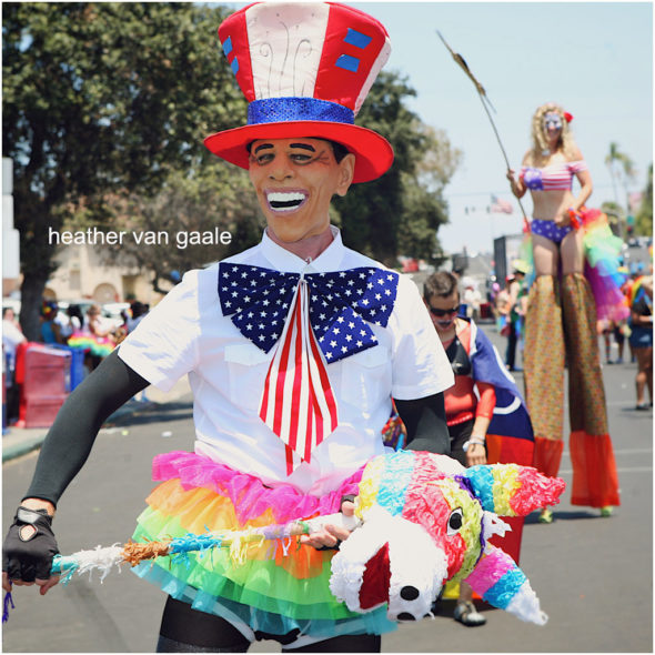 man in obama costume at gay rights pride parade