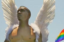 black gay angel rainbow art muscles