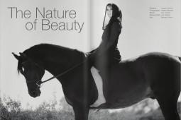 woman on black horse wearing black dress