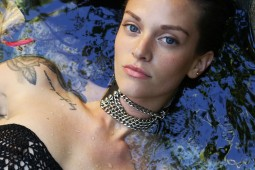 beauty under water fashion shoot wet hair pool tropical