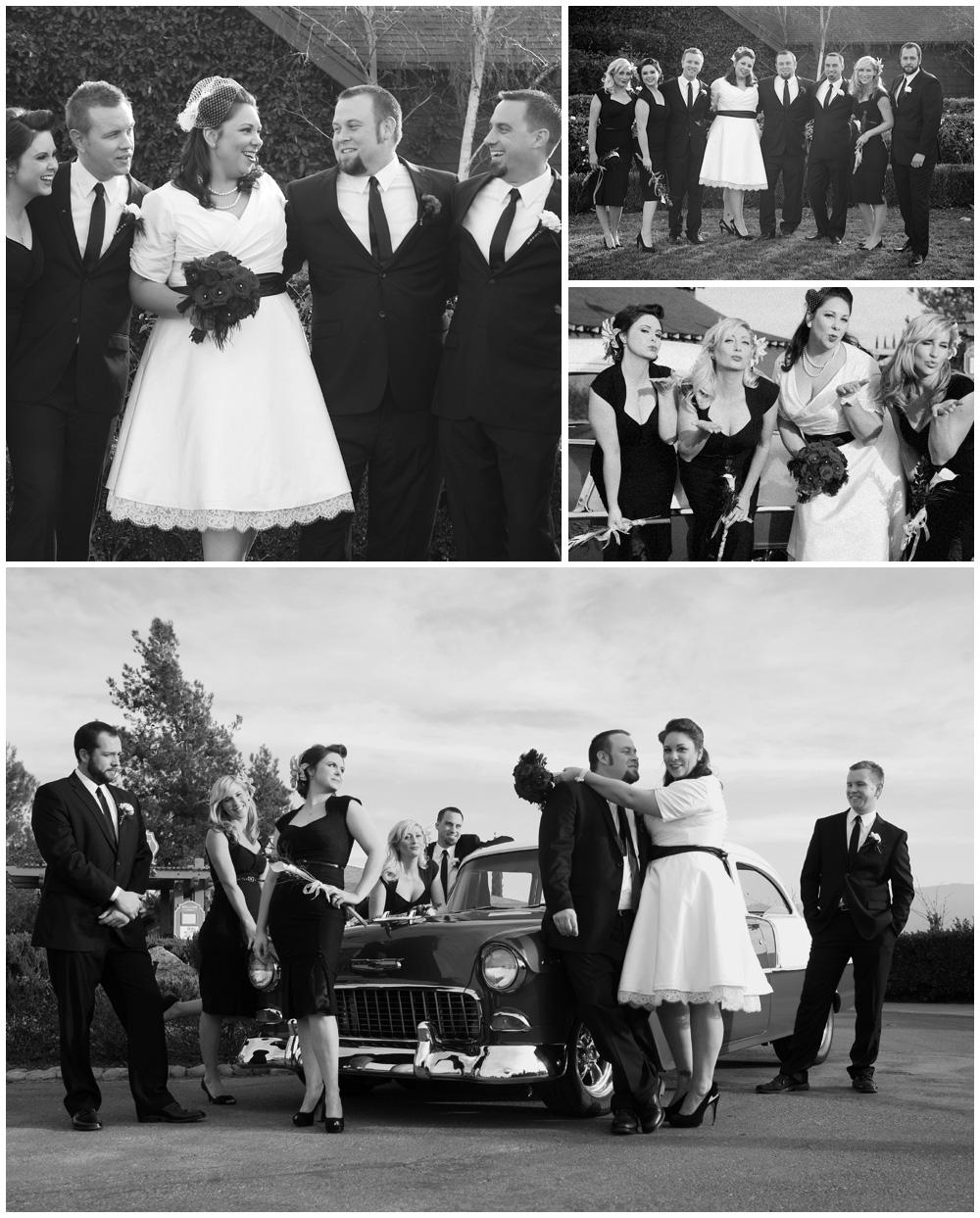 non traditional wedding with 55 chevy and retro bridesmaids dresses shot by artistic photographer heather van gaale temecula