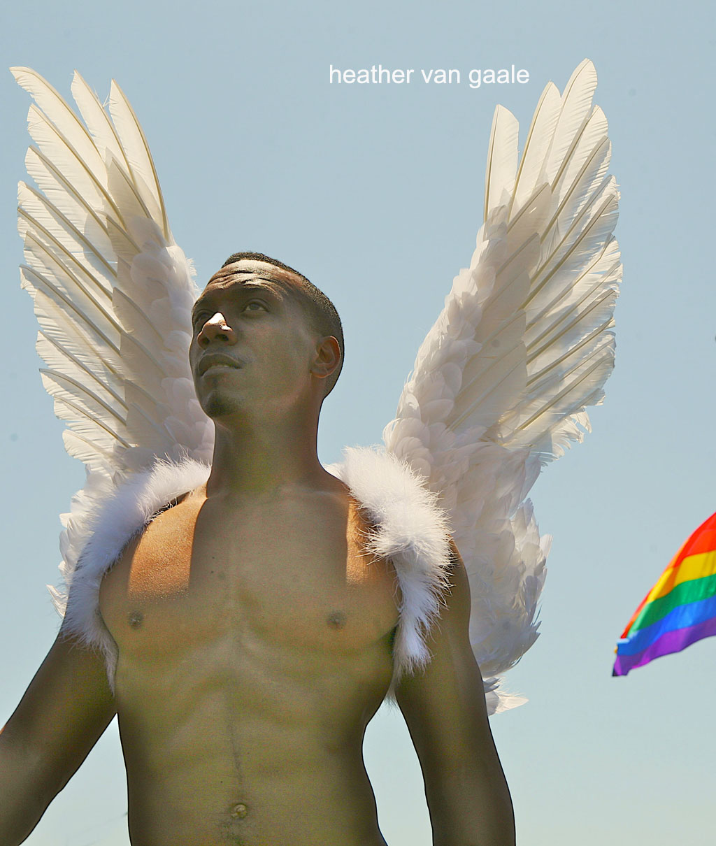 black gay angel rainbow art muscles