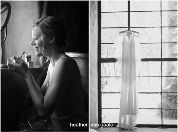 bride getting ready shot by palm springs wedding photographer heather van gaale