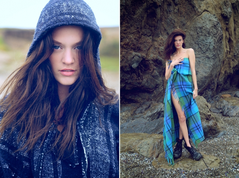 fashion editorial, stormy coast, winter, beach, beauty, glass beach, scottish blanket fashion editorial, fashion with tartan, plaid dress fashion, fashion blog, glass beach editorial, northern california, amber flowers, heather van gaale, andrew hussey,