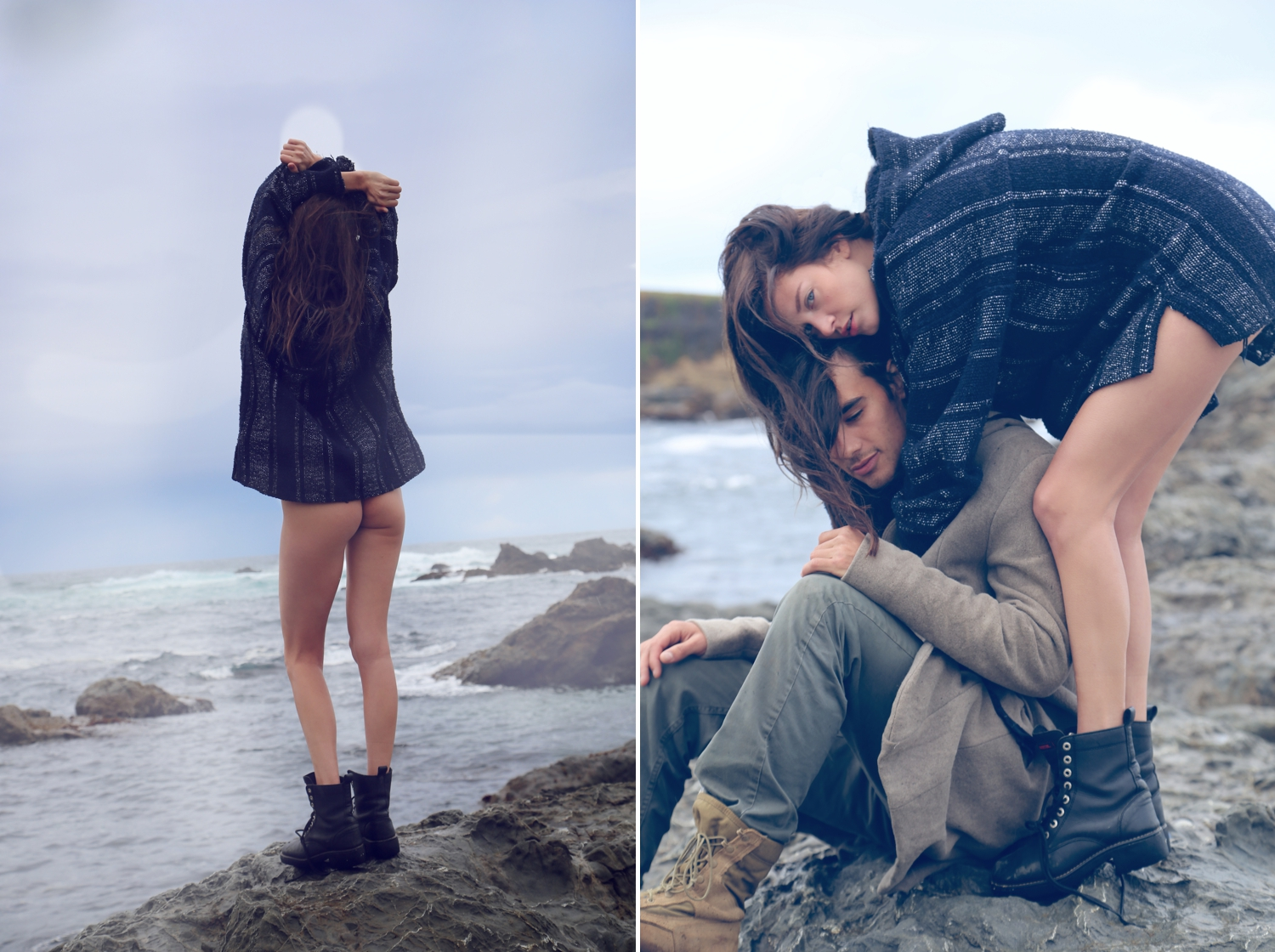 next fashion blogger, cool couple,couple fashion spread, fashion editorial glass beach, fashion blogger, heather van gaale, travel and fashion blog, best photo blog, playful nude editorial