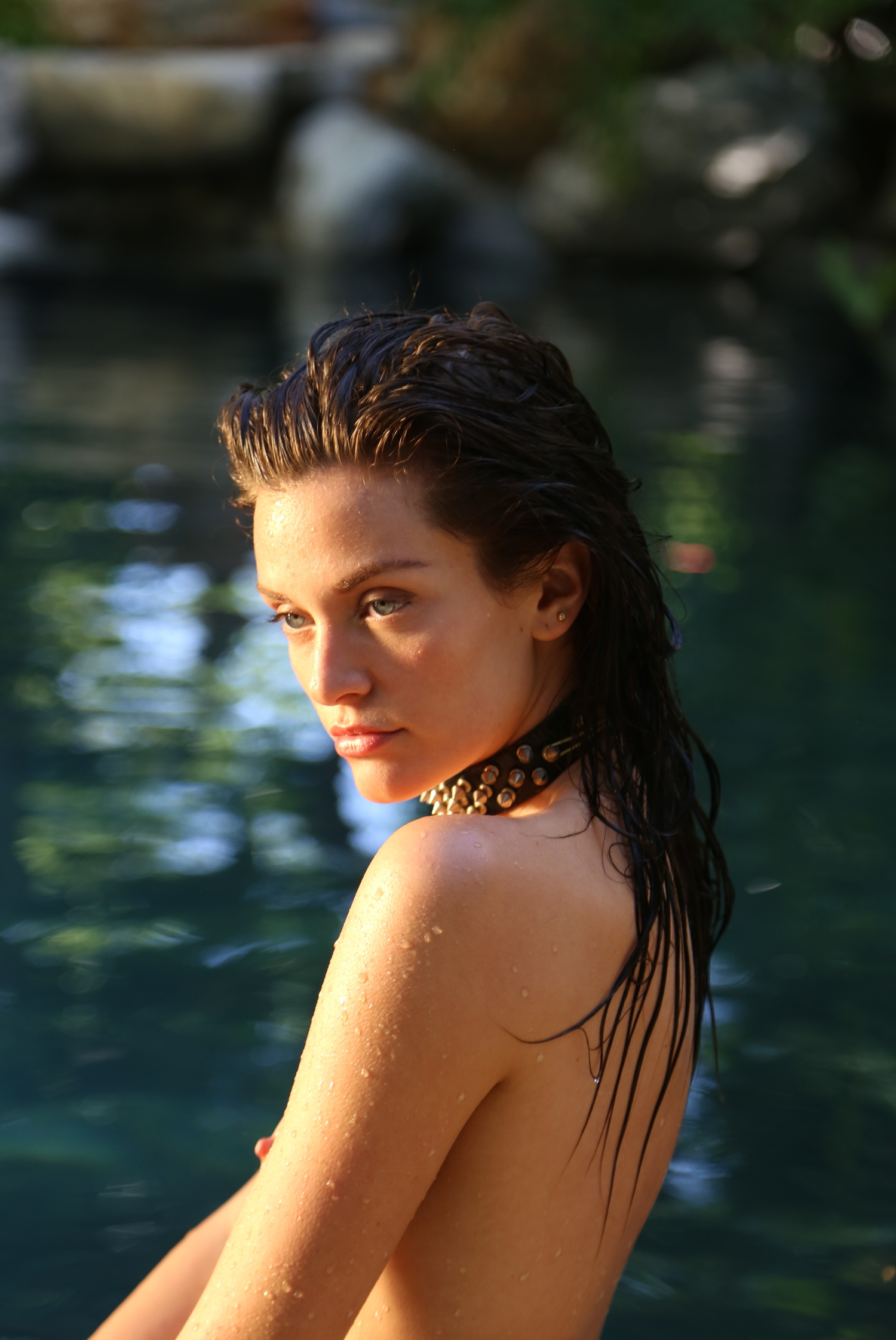 beauty wet hair model editorial tropical water