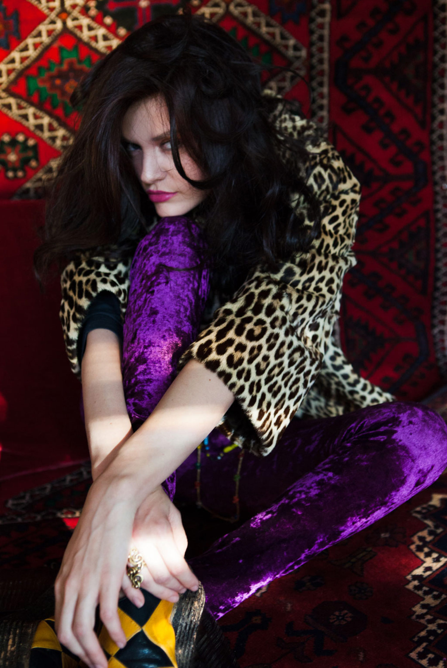 rocker goddess leopard and purple velvet bohemian fashion tips