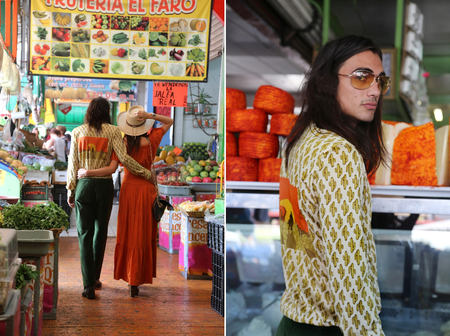 vintage fashion editorial in tijuana retro couple long hair model