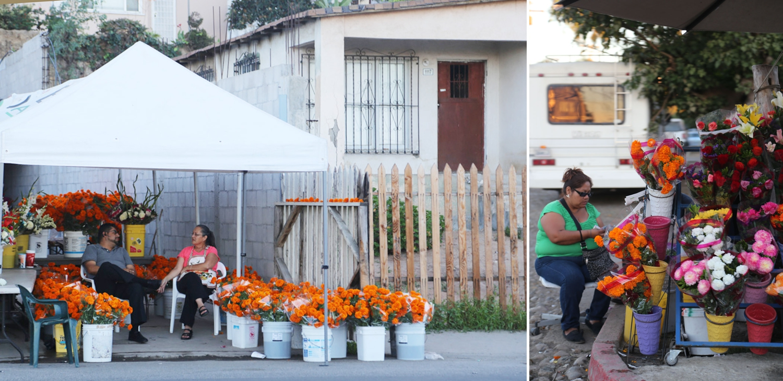 street vendors tijuana selling marigold for dis de los metros