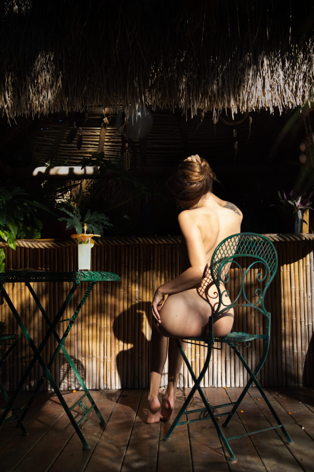 fine art nude photo with light and shadow in a tropical setting