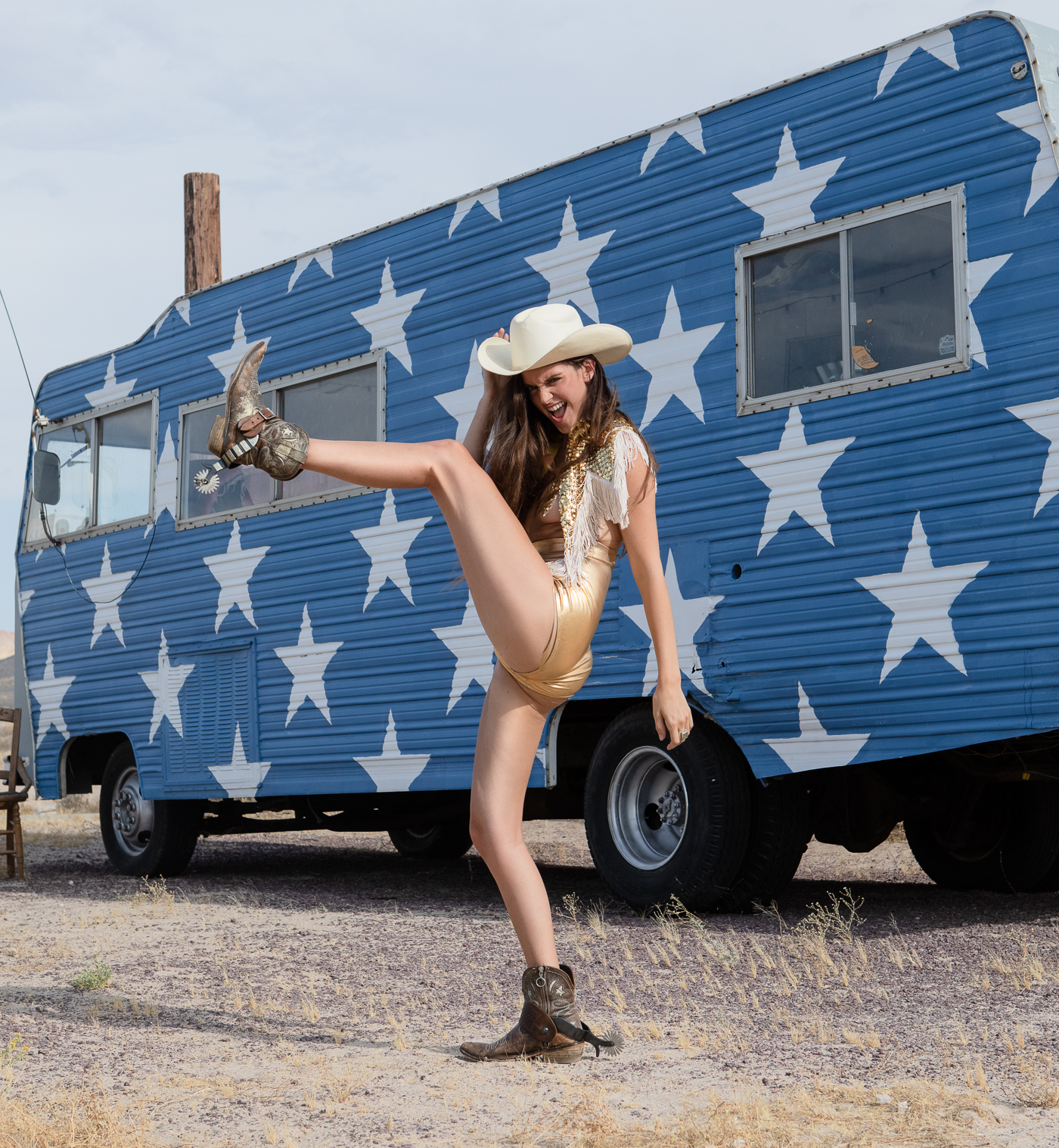 Americana space cowgirl editorial by Los Angeles fashion photographer Heather Van Gaale